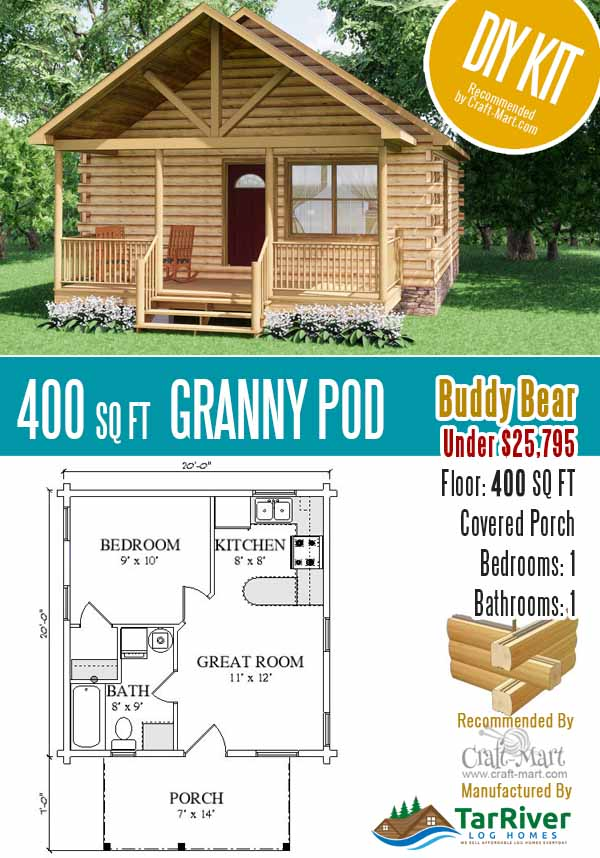400 sq ft log cabin - granny pod under $26,000