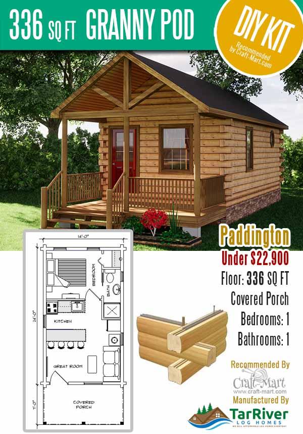 336 sq ft log cabin pod under $23,000