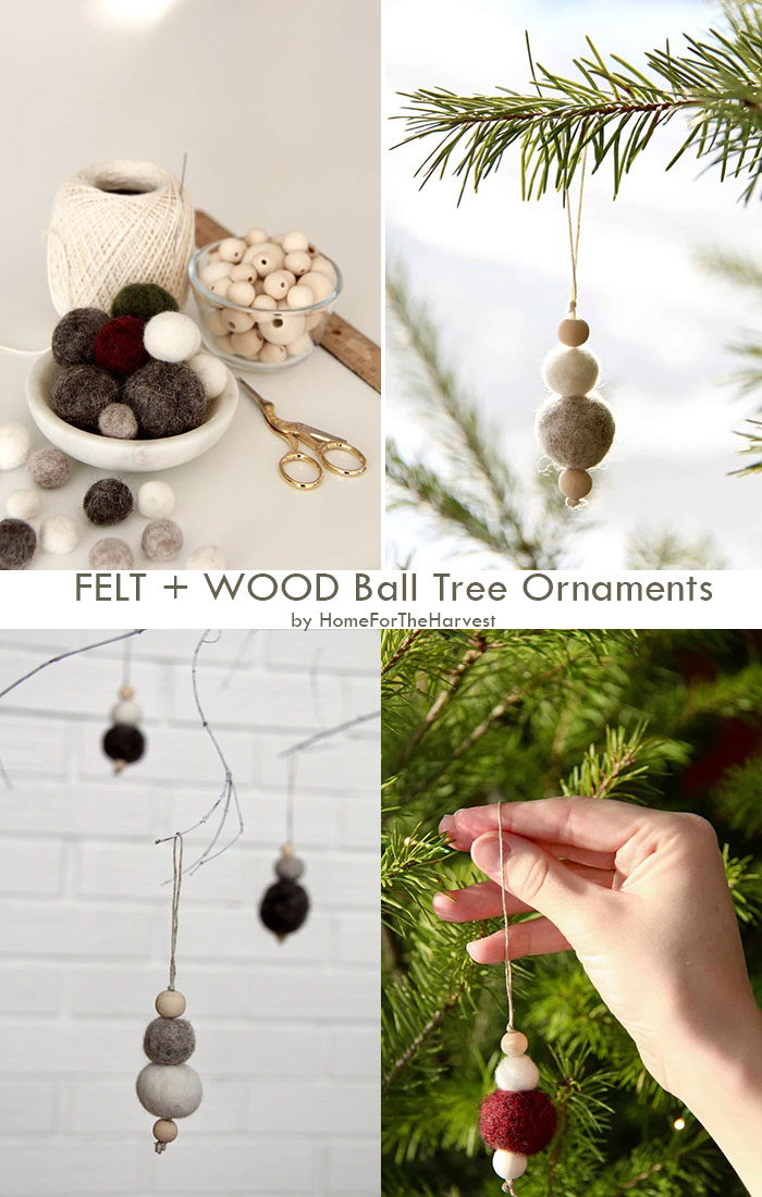 FELT + WOOD Ball Tree Ornaments by HomeForTheHarvest