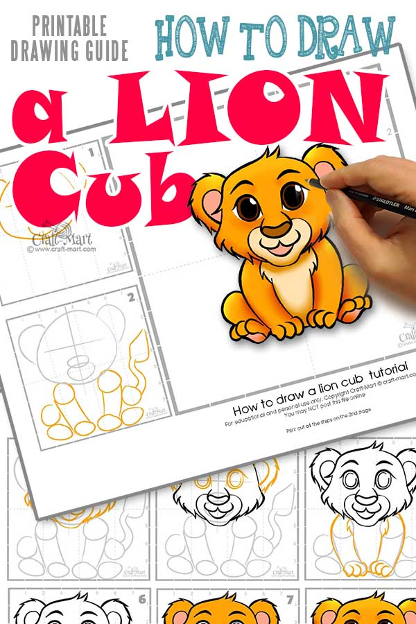 "Download our ""How to draw a lion cub"" tutorial in PDF format here"