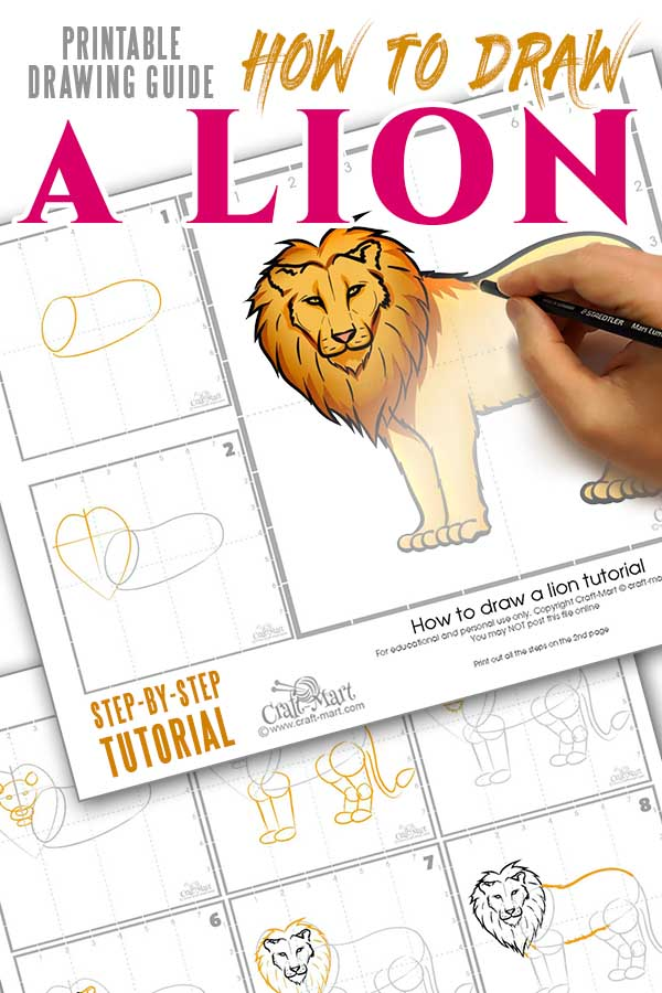 step-by-step easy printable guide for simple drawing of a lion tutorial