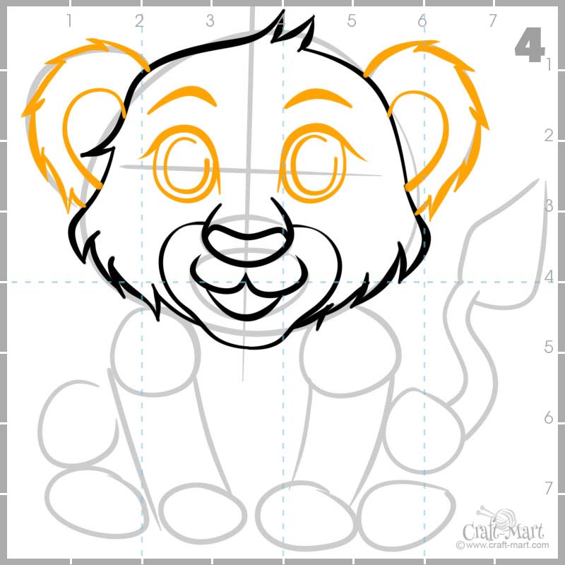 Drawing lion cub's Eyes and ears