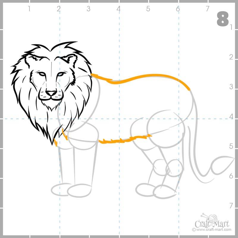 Fluffing lion's torso