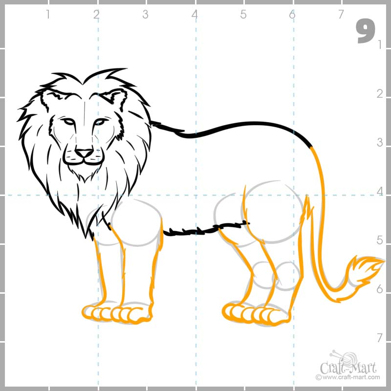 Adding hair to the tail and detailing the paws on our lion's drawing