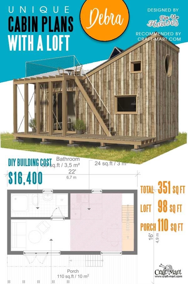 Plans of Tiny Cabin with a loft Debra