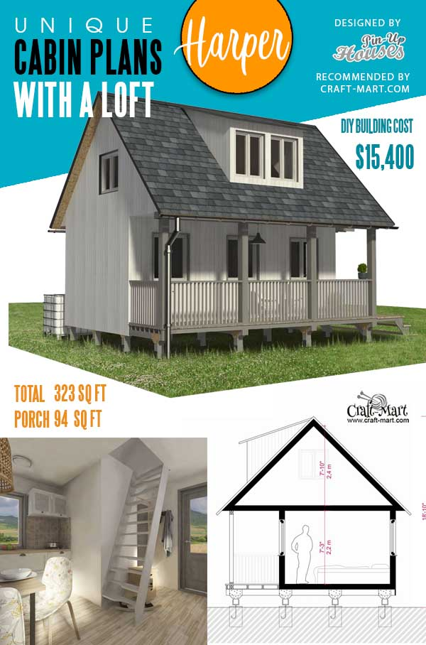 Tiny Cabin Plans with Porch Harper