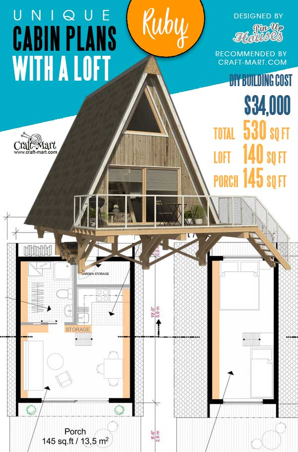 Floorplans of an A-Frame Cabin Ruby