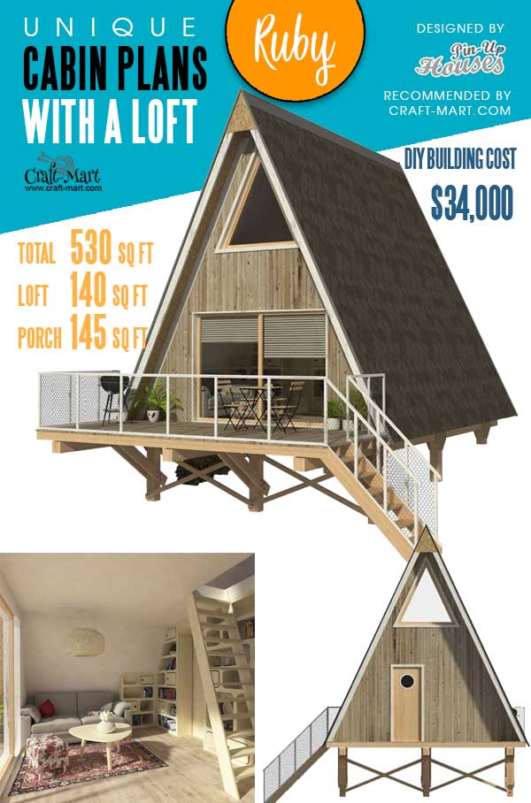 Elevations of an A-Frame Cabin Ruby
