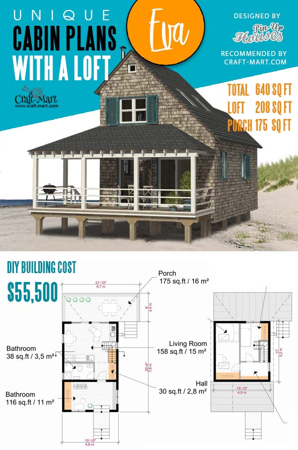 Floorplans of Elevated Beach Cabin with a Loft Eva