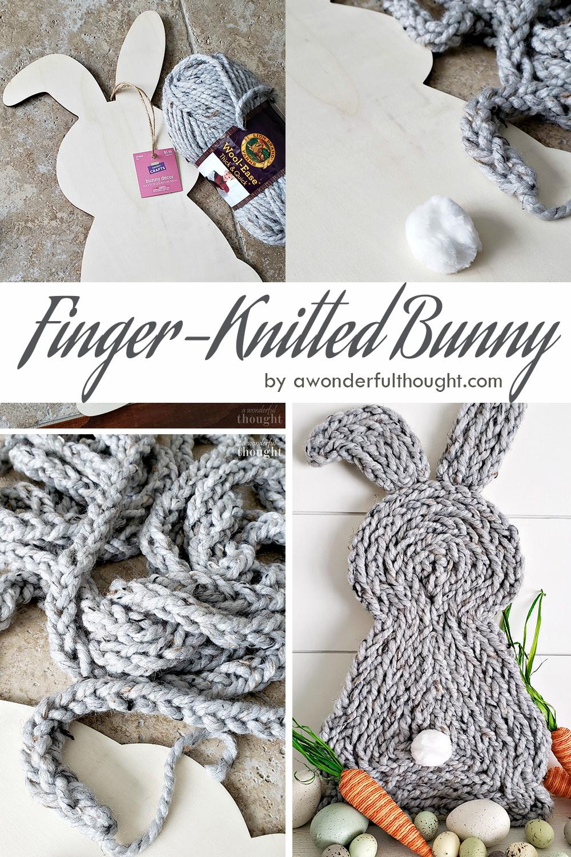 Finger-Knitted Easter Bunny