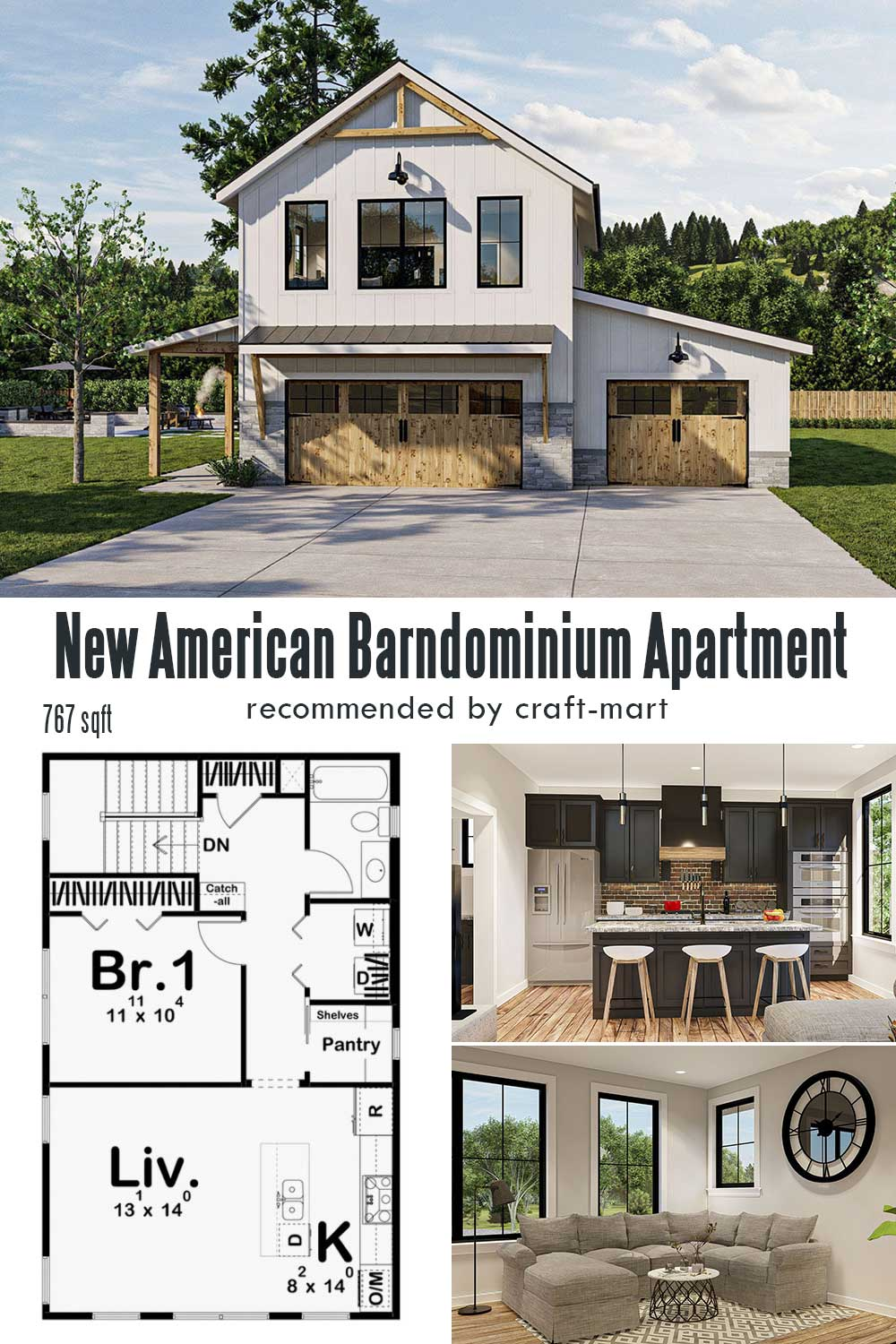 Modern Garage Apartment Plan with Barndominium Styling
