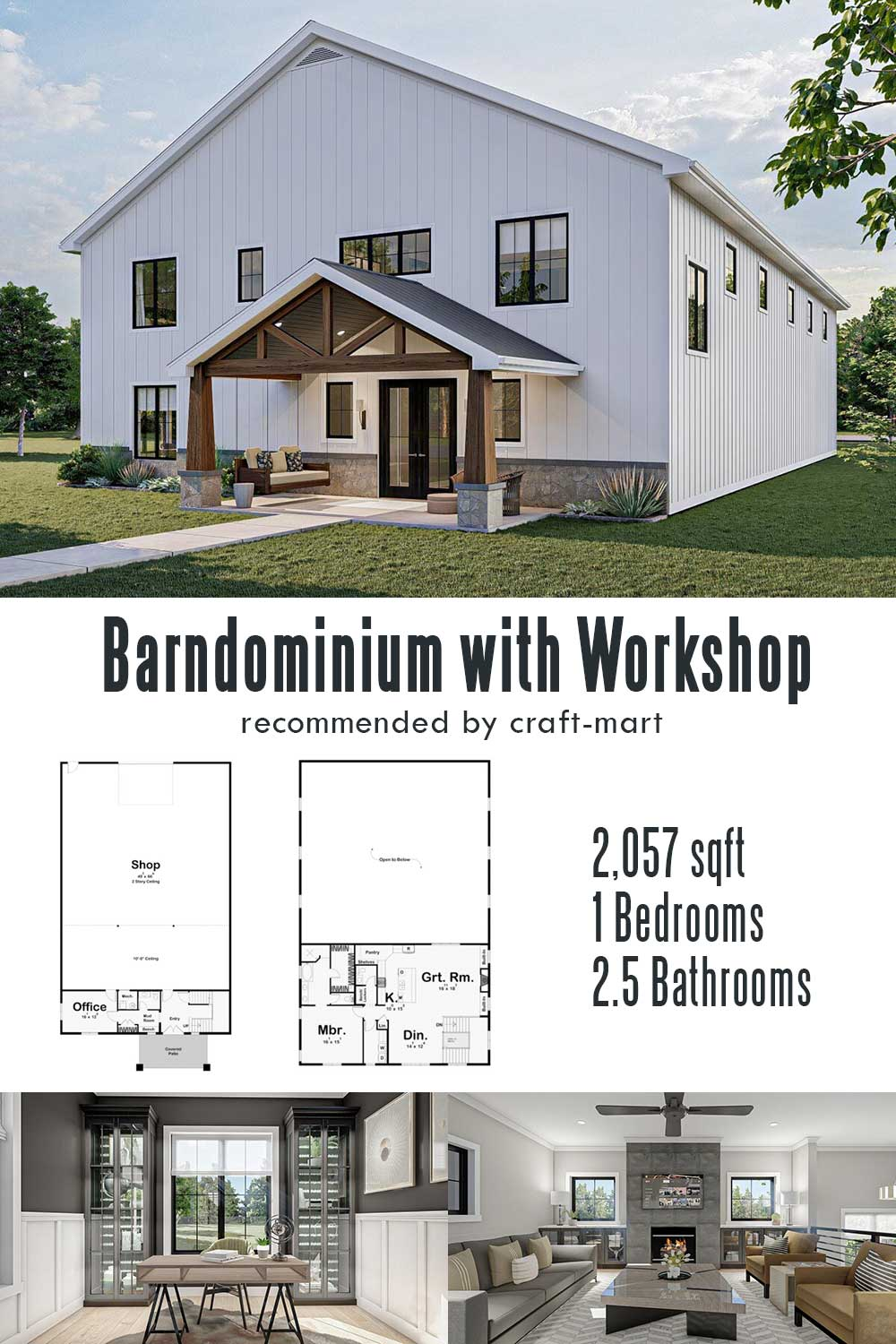 Barndominium with a Massive Workshop and an Apartment Above