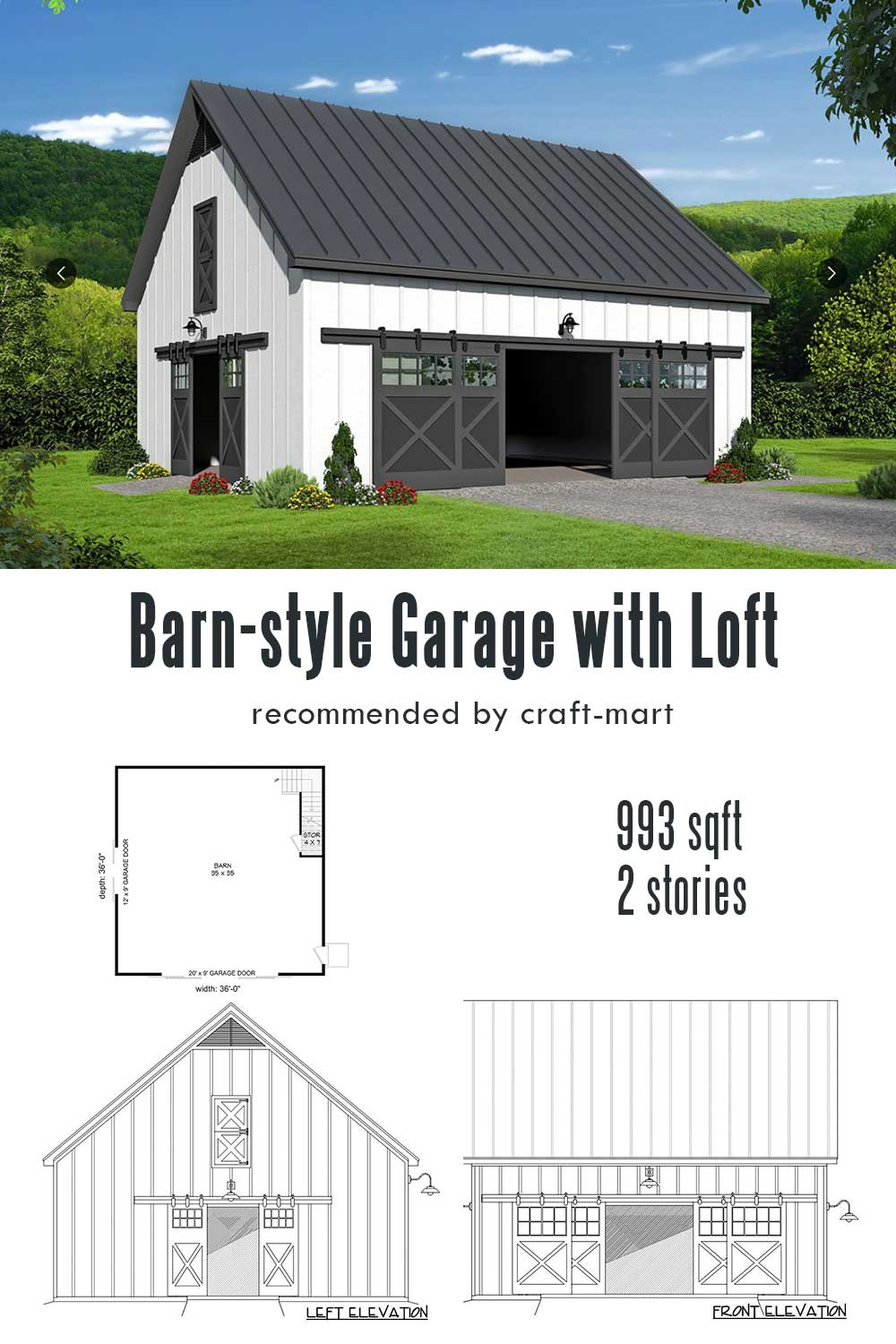 Barn-style Garage with Vaulted Loft Above