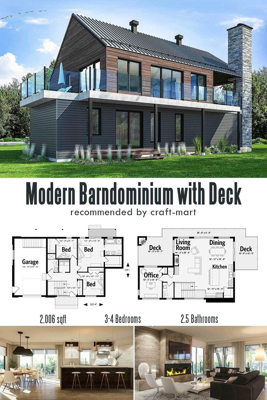 Modern Barndominium with Huge Deck