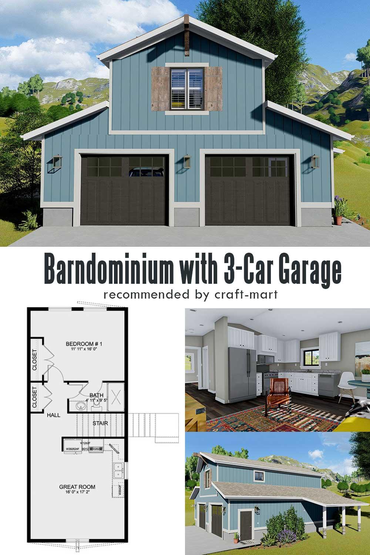 1-Bedroom Barndominium with 3-Car Garage on Ground Level