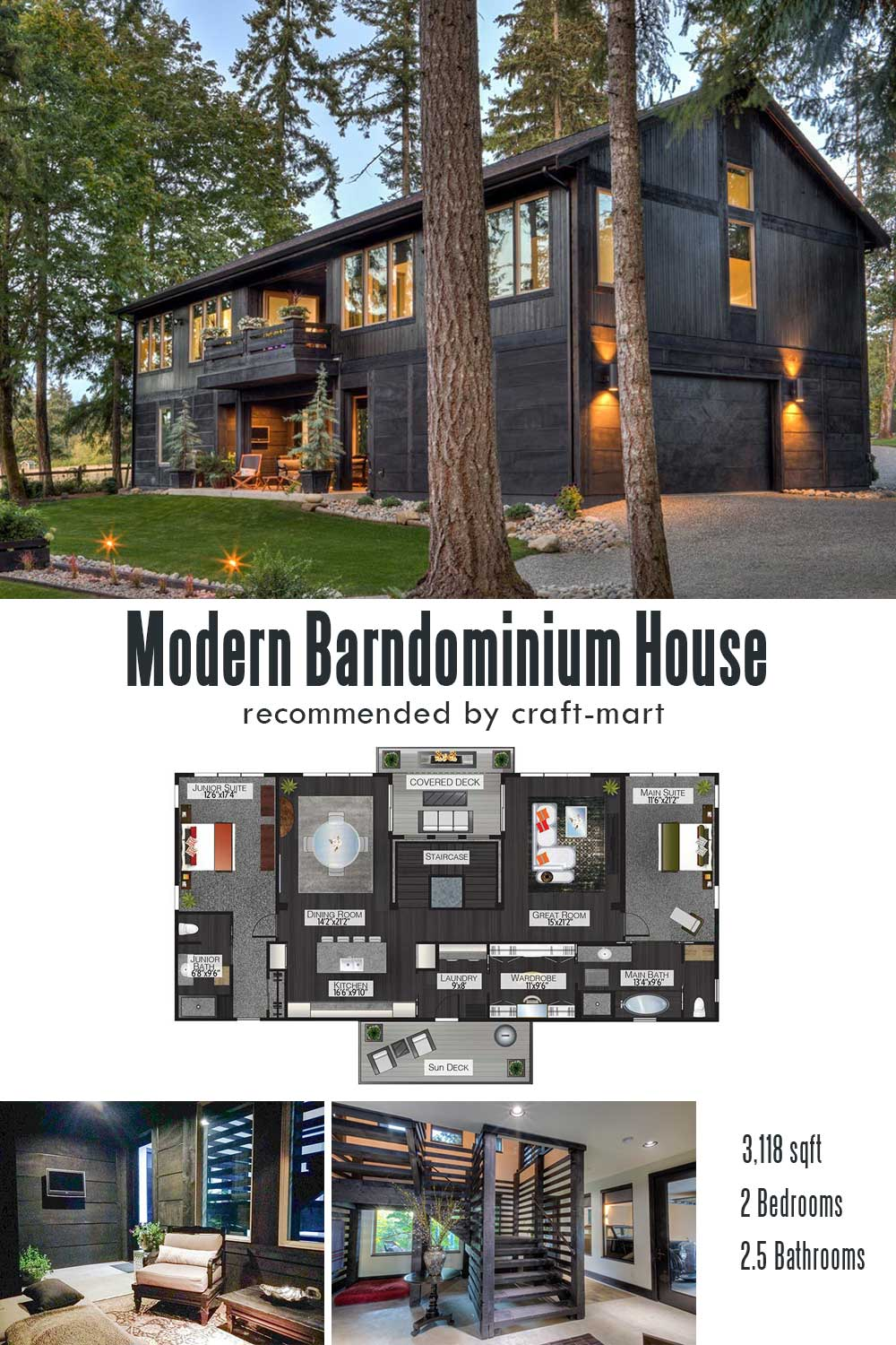 Modern Barndominium House with Two Bedroom Suites