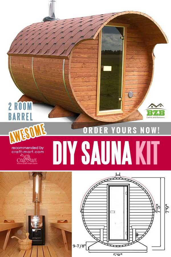 2 Room Barrel Sauna Kit W34