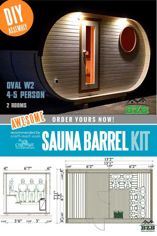 Outdoor Barrel Sauna Kit W2