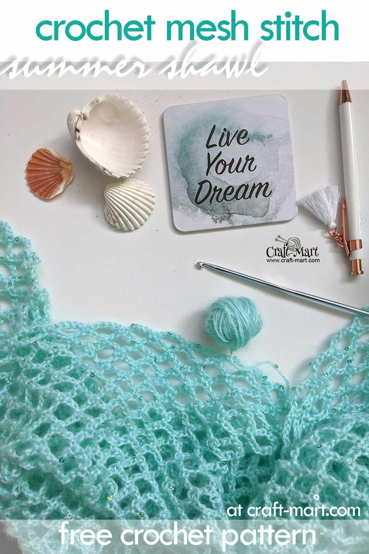 diamond mesh crochet shawl pattern
