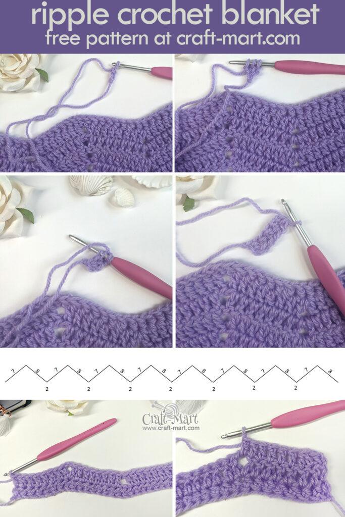 ripple crochet blanket step-by-step tutorial