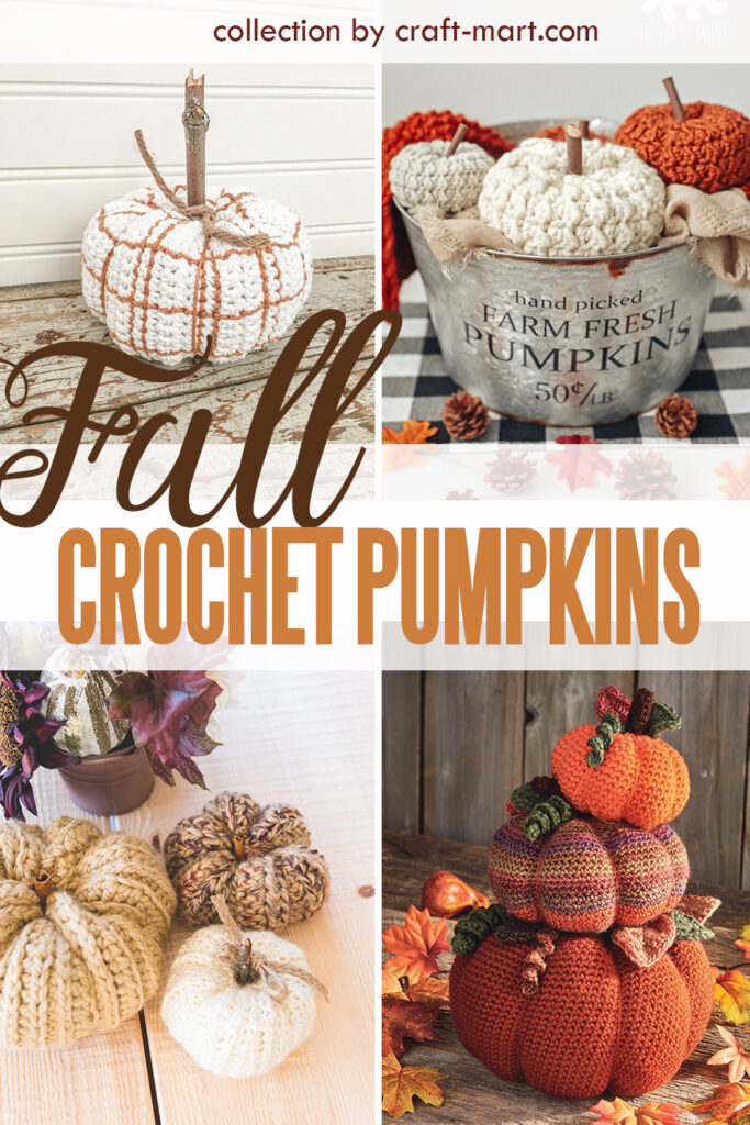 A collection of free patterns to create crochet pumpkins
