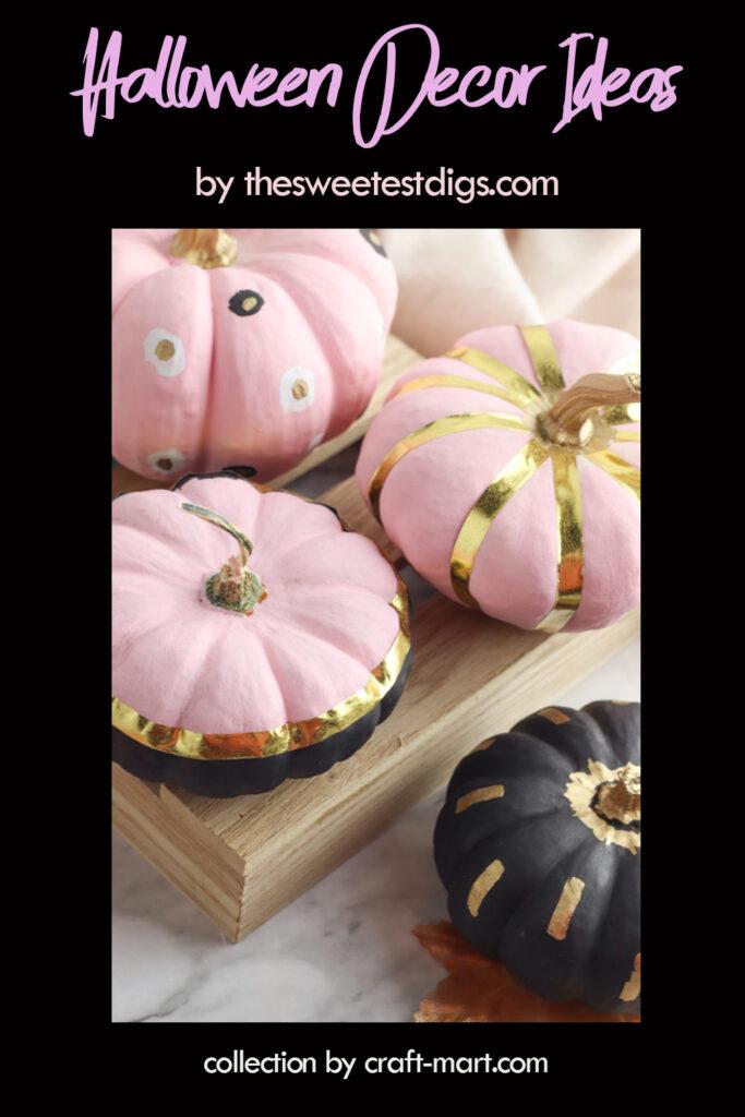 Elegant Pink and Gold Pumpkins