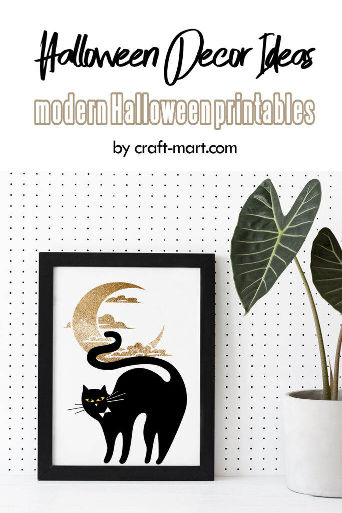Black Cat and Moon Printable Free