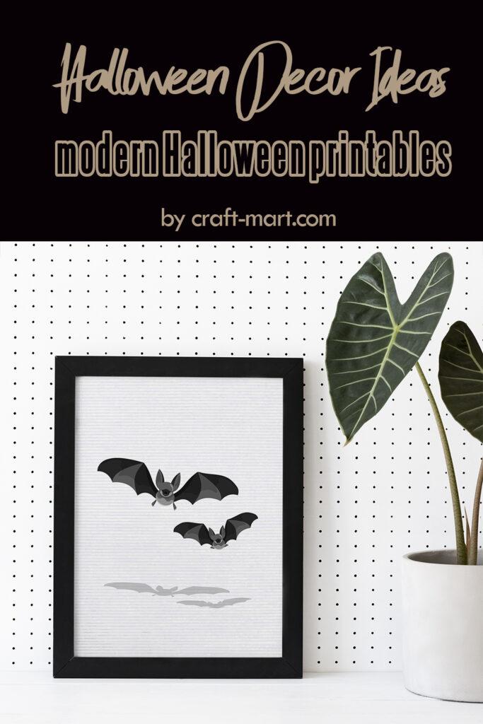 Modern Black and White Bats Halloween Printable